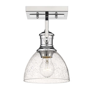 Hines Chrome One-Light Semi-Flush Mount With Seeded Glass