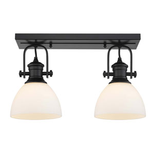 Hines Black Two-Light Semi-Flush Mount With Opal Glass