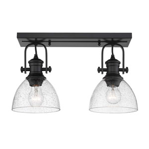 Hines Black Two-Light Semi-Flush Mount With Seeded Glass