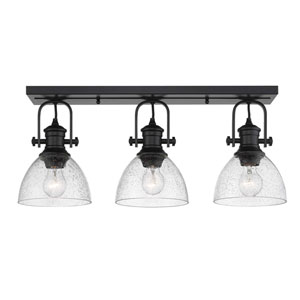 Hines Black Three-Light Semi-Flush Mount With Seeded Glass