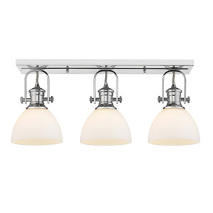 Hines Chrome Three-Light Semi-Flush Mount With Opal Glass
