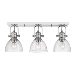 Hines Chrome Three-Light Semi-Flush Mount With Seeded Glass
