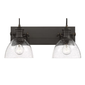 Hines Rubbed Bronze Seeded Glass 18-Inch Two-Light Bath Vanity