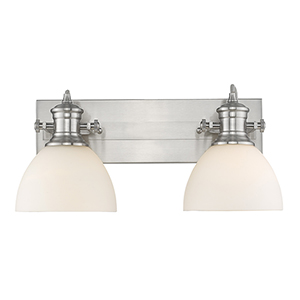 Hines Pewter 17-Inch Two-Light Bath Vanity with Opal Glass