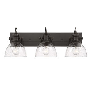 Hines Rubbed Bronze Seeded Glass 25-Inch Three-Light Bath Vanity