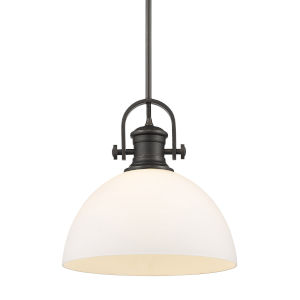 Hines Rubbed Bronze Opal Glass 14-Inch One-Light Pendant