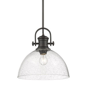 Hines Rubbed Bronze Seeded Glass 14-Inch One-Light Pendant