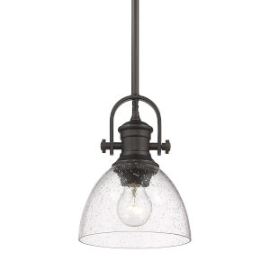 Hines Rubbed Bronze Seeded Glass Seven-Inch One-Light Mini Pendant