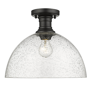 Hines Black 13-Inch One-Light Semi-Flush Mount with Seeded Glass