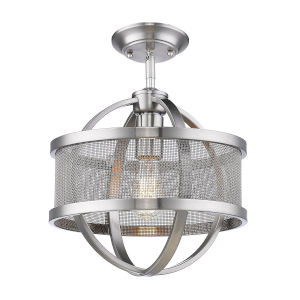 Colson Pewter 11-Inch One-Light Semi Flush Mount