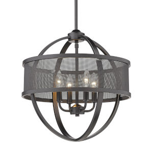 Colson Matte Black 17-Inch Four-Light Chandelier with Mesh Black Shade