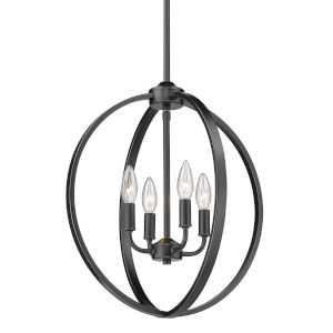 Colson Matte Black 17-Inch Four-Light Chandelier