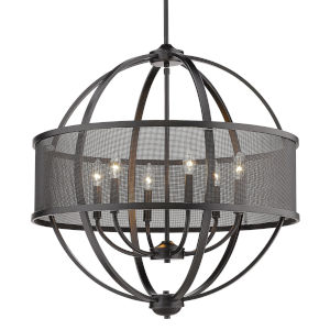 Colson Matte Black 27-Inch Six-Light Chandelier