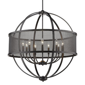 Colson Matte Black 33-Inch Nine-Light Chandelier