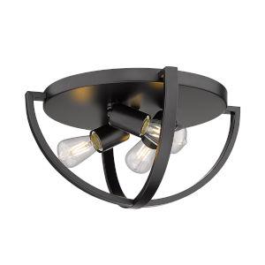 Colson Matte Black 14-Inch Three-Light Flush Mount