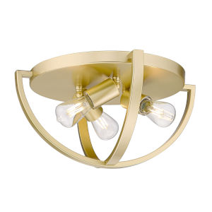 Colson Olympic Gold 14-Inch Three-Light Flush Mount