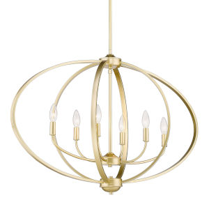 Colson Olympic Gold 35-Inch Six-Light Linear Pendant with Matte Black shade