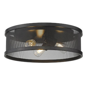 Channing Matte Black Three-Light Flush Mount