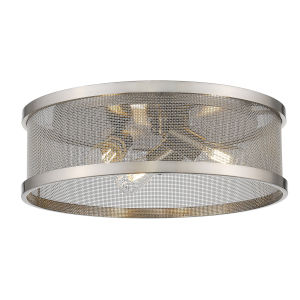 Channing Pewter Three-Light Flush Mount