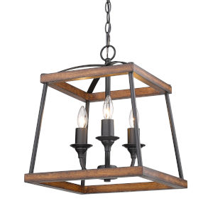 Teagan Natural Black 15-Inch Three-Light Pendant with Rustic Oak Wood Accents