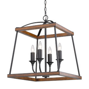 Teagan Natural Black 19-Inch Four-Light Pendant with Rustic Oak Wood Accents