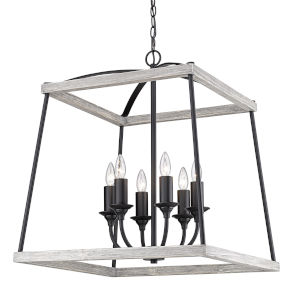 Teagan Natural Black 23-Inch Six-Light Pendant with Gray Harbor Wood  Accents