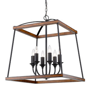 Teagan Natural Black 23-Inch Six-Light Pendant with Rustic Oak Wood Accents