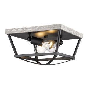 Teagan Natural Black 12-Inch Two-Light Flush Mount with Gray Harbor Wood Accents