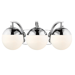 Dixon Chrome 21-Inch Three-Light Bath Vanity with Opal Glass