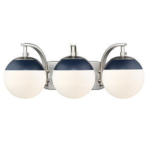 Dixon Pewter and Matte Navy 21-Inch Three-Light Bath Vanity with Opal Glass