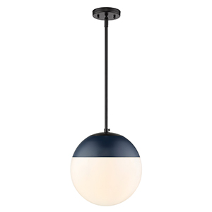 Dixon Black and Navy 11-Inch One-Light Pendant with Opal Glass