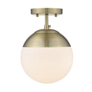 Dixon Aged Brass Opal Glass Eight-Inch One-Light Semi Flush Mount