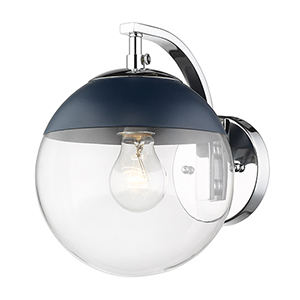 Dixon Chrome and Matte Navy Seven-Inch One-Light Wall Sconce