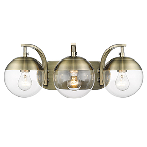 Dixon Aged Brass 21-Inch Three-Light Bath Vanity