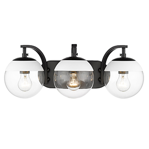 Dixon Black and White 21-Inch Three-Light Bath Vanity