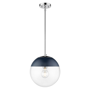 Dixon Chrome and Matte Navy 11-Inch One-Light Pendant