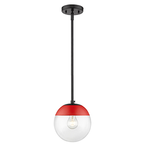 Dixon Black and Red Seven-Inch One-Light Mini Pendant