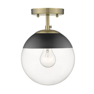 Dixon Aged Brass Black Clear Glass Eight-Inch One-Light Semi Flush Mount