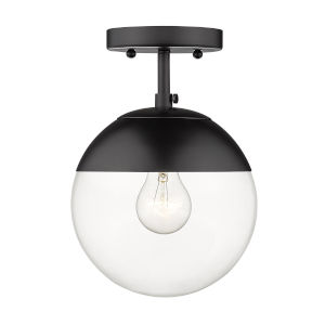 Dixon Matte Black Clear Glass Eight-Inch One-Light Semi Flush Mount