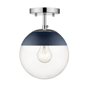 Dixon Chrome Navy Blue Clear Glass Eight-Inch One-Light Semi Flush Mount