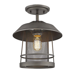 Parsons Gunmetal Bronze One-Light Semi-Flush Mount With Gunmetal Bronze