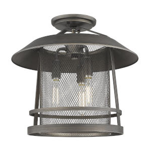 Parsons Gunmetal Bronze Three-Light Semi Flush Mount