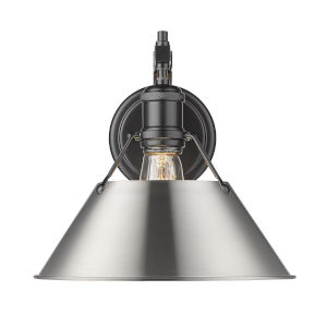 Orwell Matte Black 10-Inch One-Light Wall Sconce with Pewter Shade