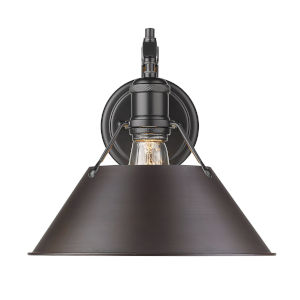 Orwell Matte Black 10-Inch One-Light Wall Sconce with Rubbed Bronze Shade