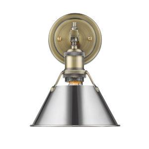 Orwell AB Aged Brass Eight-Inch One-Light Bath Vanity with Chrome Shade