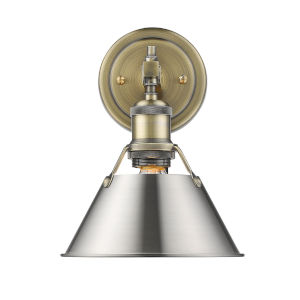 Orwell AB Aged Brass Eight-Inch One-Light Bath Vanity with Pewter Shade