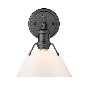 Orwell Matte Black Eight-Inch One-Light Bath Vanity with Opal Glass Shade