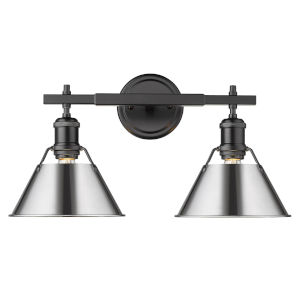 Orwell Matte Black 18-Inch Two-Light Bath Vanity with Chrome Shade