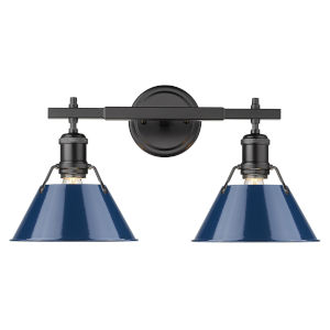 Orwell Matte Black 18-Inch Two-Light Bath Vanity with Navy Blue Shade
