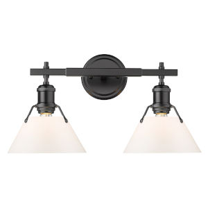 Orwell Matte Black 18-Inch Two-Light Bath Vanity with Opal Glass Shade